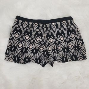 Forever 21 Embroidered Ikat Lined Shorts Black